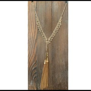 Gold Crystal and Tassel Long Fashion Necklace